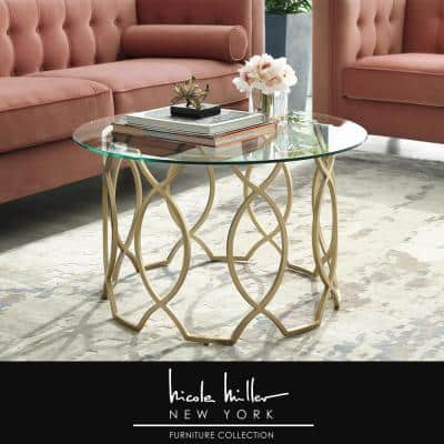 Catalina 32 in. Gold Medium Round Glass Coffee Table with Glass Top with Storage