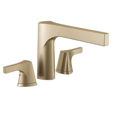 Zura 2-Handle Deck-Mount Roman Tub Faucet Trim Kit in Champagne Bronze (Valve Not Included)
