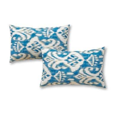 Outdoor Toss Pillow Set Square Decorative Throw Pillows Ruby Red Ikat 2 Piece
