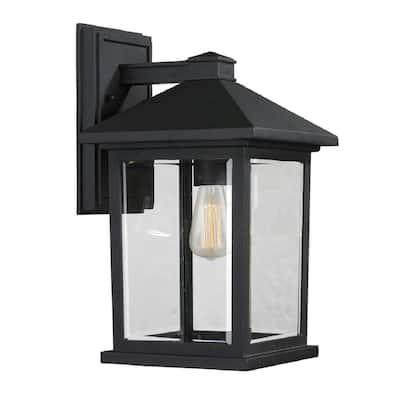 Malone 1-Light Black Outdoor Wall Lantern Sconce