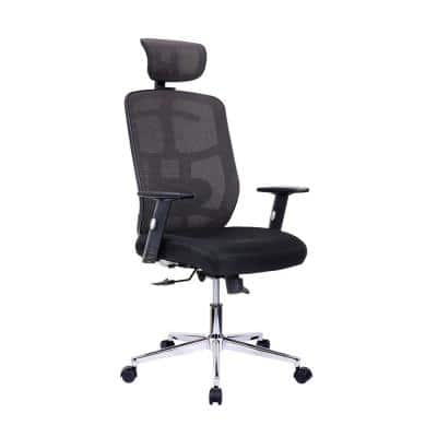 26 in. Width Big and Tall Black Mesh Ergonomic Chair with Adjustable Height