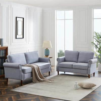 2 Pieces Light Gray Flax Fabric Loveseats Sofa Living Room Set