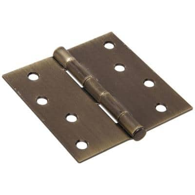 4 in. Antique Brass Residential Door Hinge with Square Corner Removable Pin Full Mortise (9-Pack)