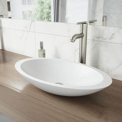 Matte Stone Wisteria Composite Oval Vessel Bathroom Sink in White with Seville Faucet and Pop-Up Drain in Brushed Nickel
