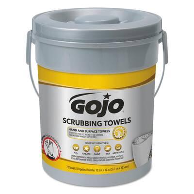 Scrubbing Towels Hand Cleaning Silver/Yellow 10 1/2 x 12 (72 Sheets per Bucket, 6 Buckets per Carton)