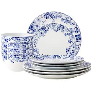 Bloomington Road White Porcelain 12-Piece Dinnerware Set, Service for 4 (white/blue)
