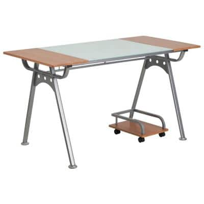 55 in. Rectangular Frosted/Cherry Computer Desks with Wheels