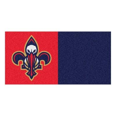 NBA New Orleans Pelicans Red and Blue Pattern 18 in. x 18 in. Carpet Tile (20 Tiles/Case)