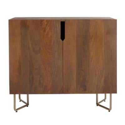 Haze Oak Finish Wood Cabinet with Brass Finish Metal Base (33 in. W x 29.75 in. H)