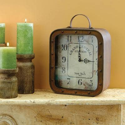 14 in. x 10 in. Metal and Glass Square Rustic Tabletop Clock