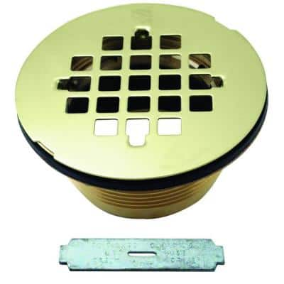 2 in. Brass Shower Drain with Grid, Polished Brass