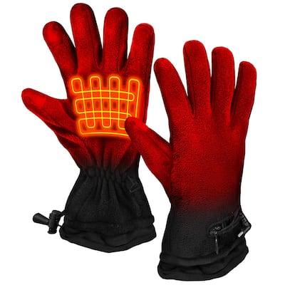 Unisex Black AA Battery Heated Fleece Gloves