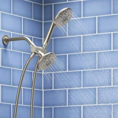 Rosewood 6-Spray Patterns 1.75 GPM 4.93 in. Wall Mount Dual Shower Heads in Vibrant Brushed Nickel