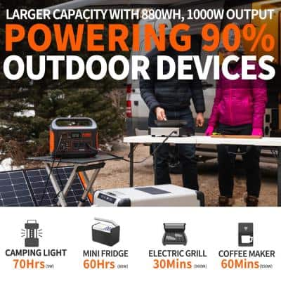 Explorer 880 Outdoor Portable Power Station, 880Wh Battery Generator with 3x110V/1000W AC Outlets for RV/Van Camping