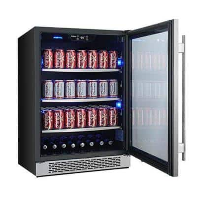 140 Can 24 in. Built-in Beverage Cooler in Black and Stainless Steel