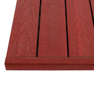 1/6 ft. x 1 ft. Quick Deck Composite Deck Tile Straight Trim in Swedish Red (4-Pieces/Box)