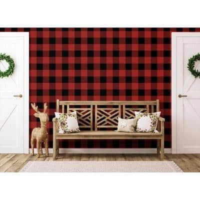 Red and Black Buffalo Plaid Peel and Stick Wallpaper (Covers 30.75 sq. ft.)
