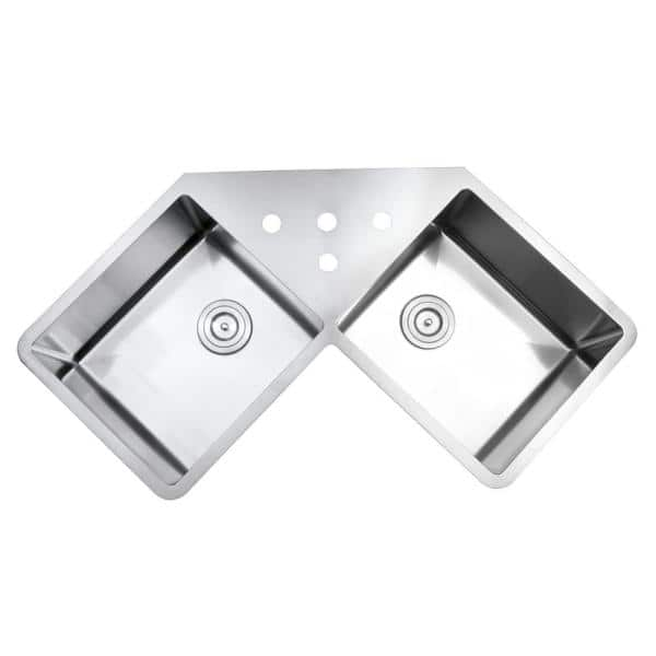 Ruvati 50 50 Undermount 16 Gauge Stainless Steel 44 In Corner Butterfly Double Bowl Kitchen Sink Rvh8400 The Home Depot