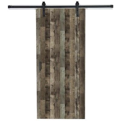 43 in. x 84 in. x 1.375 Reclaimed Oak Y0302-12 Wood Solid Core Laminate Flush Barn Door with Hardware Kit