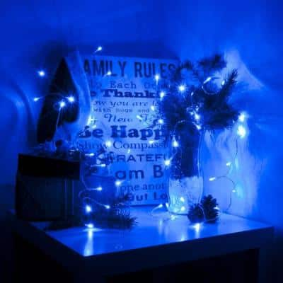 10 ft. 30-Light LED Blue Battery Operated String Lights