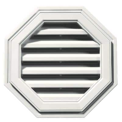 18 in. x 18 in. Octagon White Plastic Built-in Screen Gable Louver Vent