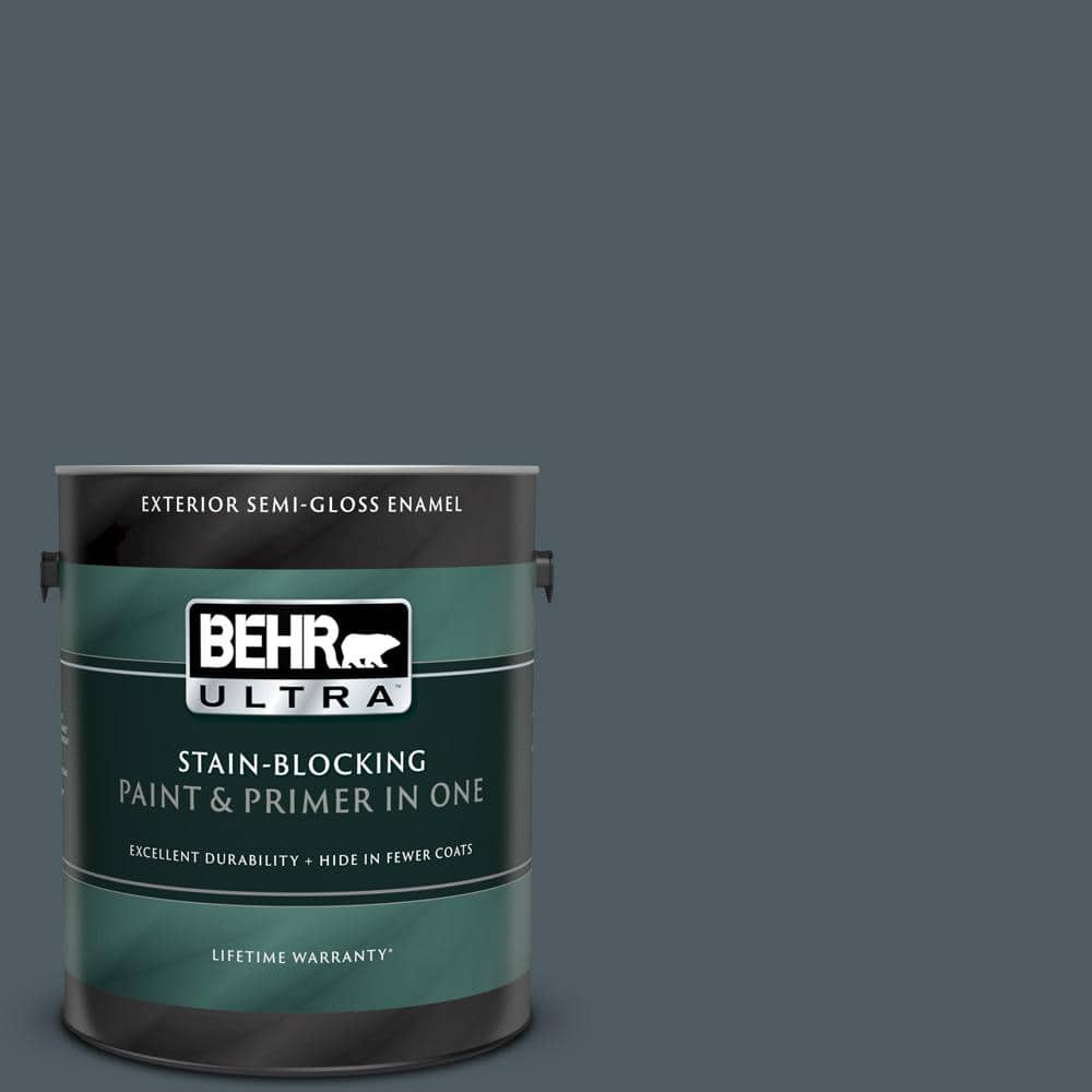 Behr Ultra 1 Gal Ppu25 21 City Rain Semi Gloss Enamel Exterior Paint And Primer In One 585301 The Home Depot