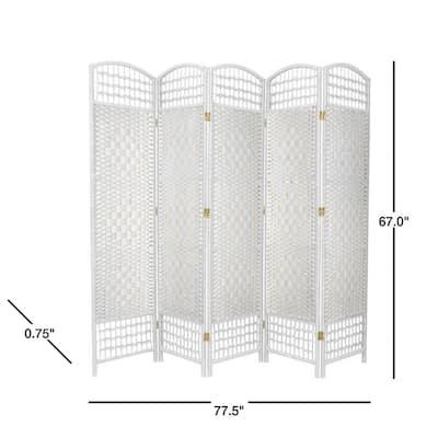 5.5 ft. White 5-Panel Room Divider