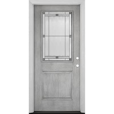 Everland Collection Customizable Fiberglass Prehung Front Door with Glass