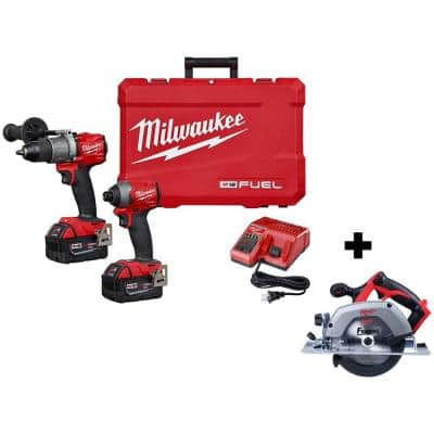 M18 FUEL 18-Volt Lithium-Ion Brushless Cordless Hammer Drill and Impact Driver Combo Kit W/ M18 Circular Saw