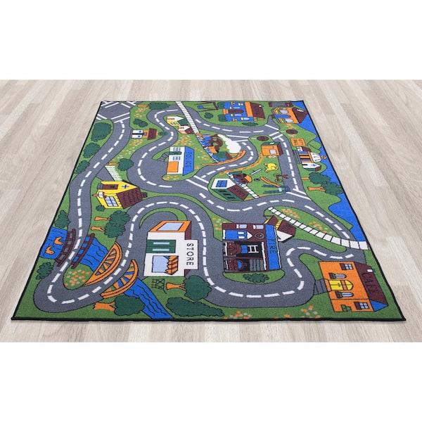 Ottomanson - Jenny Collection Grey Road Traffic Design 3 ft. x 5 ft. Non-Slip Kids Area Rug
