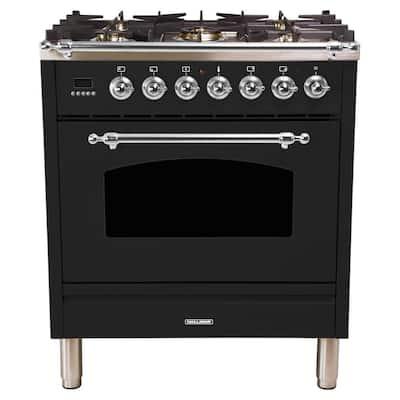 30 in. 3.0 cu. ft. Single Oven Dual Fuel Italian Range True Convection, 5 Burners, LP Gas, Chrome Trim in Glossy Black