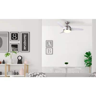 Mota 42 in. Integrated LED Brushed Nickel and White Ceiling Fan with Light Kit