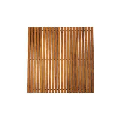 Oiled Brown Teak Indoor and Outdoor String Mat with Rubber Footing 30 in. x 30 in.