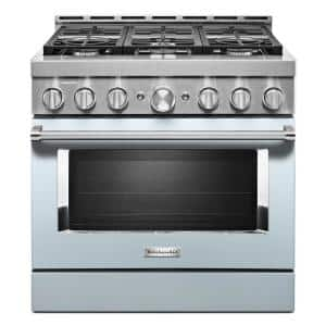 36 in. 5.1 cu. ft. Smart Commercial-Style Gas Range with Self-Cleaning and True Convection in Misty Blue