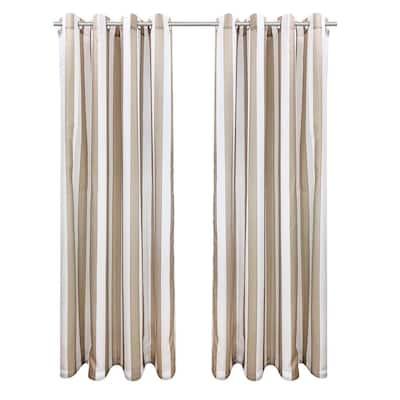 "Seascapes Stripe Light Filtering Grommet Indoor/Outdoor Curtain Panel Pair, 50"" x 84"" each in Linen"