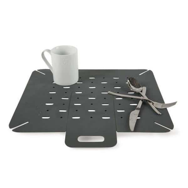 Core Home 16 In X 16 In Silicone In Sink Mat Protector With Drain Flap In Slate 12221 The Home Depot