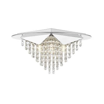 Sky 17 in. Stainless Steel and Clear Crystals Flush Mount