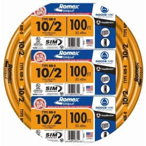 100 ft. 10/2 Orange Solid Romex Simpull CU NM-B W/G Wire