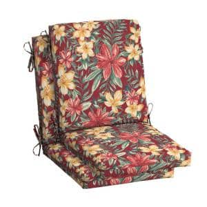 20 in.x 24 in. Outdoor High Back Dining Chair Cushion in Ruby Clarissa Tropical (2-Pack)