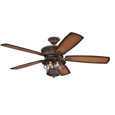 Brentford 52 in. LED Aged Walnut Ceiling Fan with Light Kit