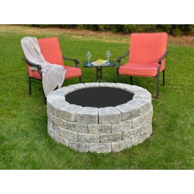 Windsor 47 in. x 16 in. Round Concrete Wood Fuel Fire Pit Kit with Steel Ring in Allegheny