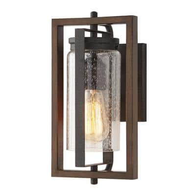 Palermo Grove 1-Light Gilded Iron Outdoor Wall Lantern Sconce with Walnut Wood Accents