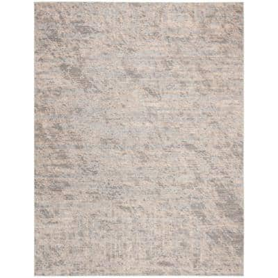 Invista Cream/Gray 9 ft. x 12 ft. Solid Abstract Area Rug