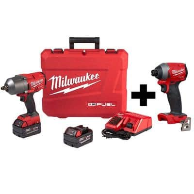 M18 FUEL 18-Volt Lithium-Ion Brushless Cordless 1/2 in. Impact Wrench with Friction Ring Kit W/  FUEL Impact Driver