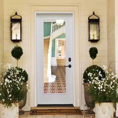 28 in. x 80 in. Premium Full Lite White Primed Fiberglass Prehung Front Door