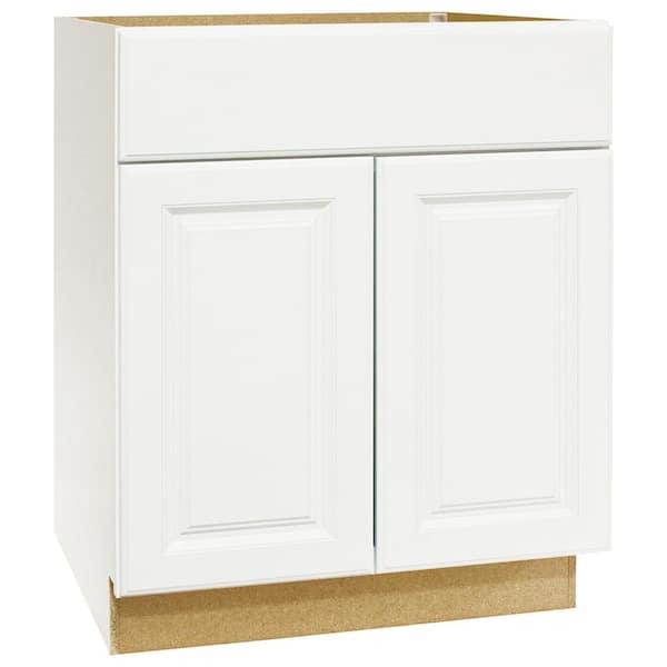 Hampton Bay Hampton Assembled 24 X 34 5 X 21 In Bathroom Vanity Base Cabinet In Satin White Kvsb24 Sw The Home Depot