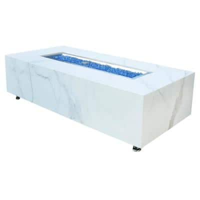 Carrara 60 in. L x 28 in. W x 17 in. H Outdoor Rectangular Porcelain Liquid Propane Fire Pit Table with Blue Fire Glass