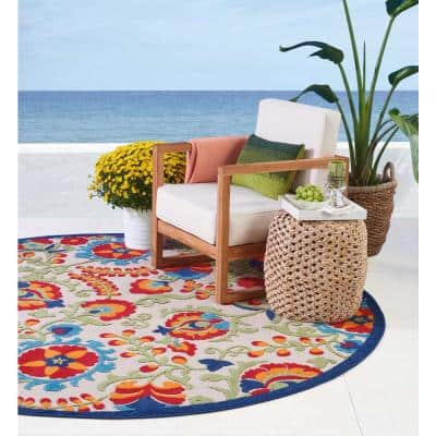 Aloha Multicolor 8 ft. x 8 ft. Floral Modern Indoor/Outdoor Round Area Rug