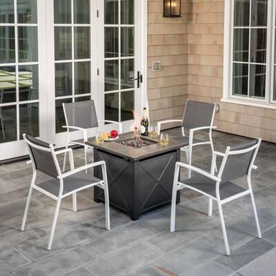 Harper 5-Piece Aluminum Patio Fire Pit Conversation Set