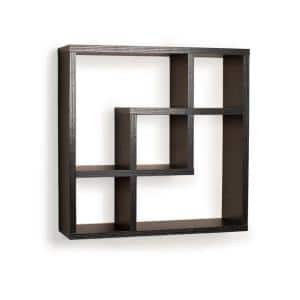 Contempo 18 in. W x 18 in. H Black MDF Geometric Square Wall Shelf with 5-Openings
